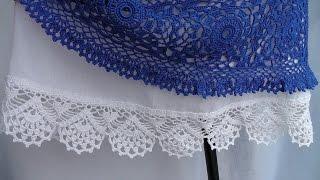 getlinkyoutube.com-Обвязка кружевной каймой юбки из ткани. КАЙМА крючком. Схема вязания.