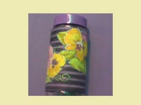 vidro decorado com linha e tecido
