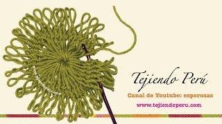getlinkyoutube.com-Horquilla (hairpin lace): técnica básica para tejer motivos circulares