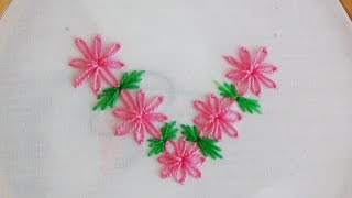getlinkyoutube.com-Hand Embroidery: Lazy Daisy Flowers Variation