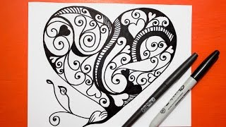 getlinkyoutube.com-Como Dibujar un Corazon - Mandalas │ How to draw a heart