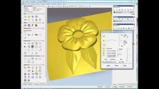 getlinkyoutube.com-simple flower relief making in ArtCAM