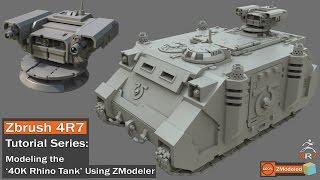 getlinkyoutube.com-Zbrush 4r7 - Zmodeler Tutorial Series '40K Rhino Tank Part 1