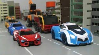 getlinkyoutube.com-또봇 애슬론 미니 발칸 토네이도 록키 장난감  Tobot Athlon Mini FireTruck Police Car Excavator Toys