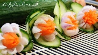 getlinkyoutube.com-How to Make Carrot Onion Cucumber Flowers - Vegetable Carving Garnish - Food Decoration