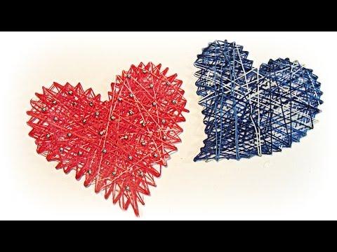 Manualidades para San Valentín: Cómo hacer corazones de hilo. How to make hearts thread