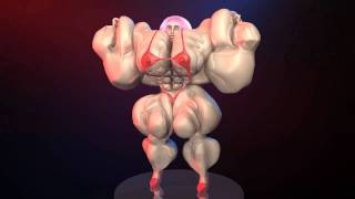 getlinkyoutube.com-3d animation of Female Bodybuilder Max Muscle Growth