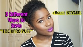 How to Style SHORT 4c Natural Hair Into a AFRO PUFF!!(3 Styles)|Mona B.