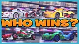 getlinkyoutube.com-Cars 2 The Game MIGUEL CAMINO vs FRANCESCO BERNOULLI vs SHU TODOROKI vs CARLA 4 Player Race