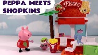 getlinkyoutube.com-Peppa Pig meets Shopkins Kinstructions - Like Lego - Food Court Construction Playset & Surprise TT4U