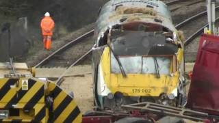 getlinkyoutube.com-TRAIN CRASH - Arriva Trains Wales 175002 Crashes with Lorry 19/12/2011