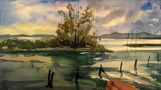 getlinkyoutube.com-Lake, Painting Landscape in watercolour, Time Lapse