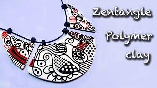 getlinkyoutube.com-Polymer clay tutorial. How to make a Zentangle necklace.
