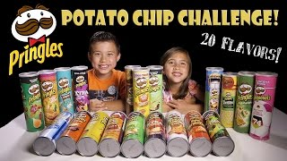 getlinkyoutube.com-PRINGLES CHALLENGE! 20 Flavors! Extreme Potato Chip Tasting Contest!