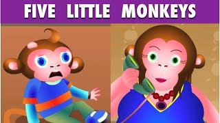 Five Little Monkeys Jumping on the Bed Nursery Rhyme - Cartoon Rhymes For Children
