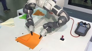 getlinkyoutube.com-YuMi the dual-arm robot makes paper airplanes - ABB Robotics