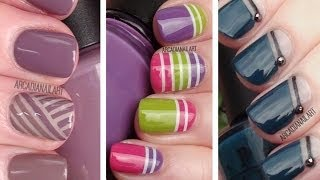 getlinkyoutube.com-3 Striping Tape Easy Nail Art Designs | Nail Art For Beginners | ArcadiaNailArt