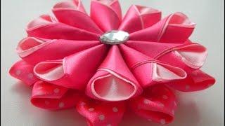 getlinkyoutube.com-Цветок канзаши с крупными лепестками