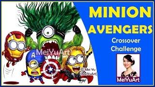 getlinkyoutube.com-Amazing Minion Avengers Speed Drawing Crossover Twist - MeiYuArt