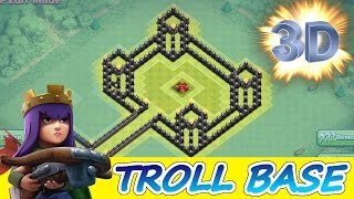 "getlinkyoutube.com-Clash Of Clans | INCREDIBLE 3D TROLL BASE! A MUST WATCH! | ""THE QUEENS CASTLE"""