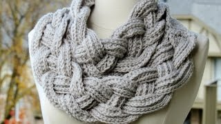 getlinkyoutube.com-Double Layered Braided Cowl - Crochet Tutorial