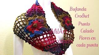 getlinkyoutube.com-Una red en bufanda con flores o mariposas facil