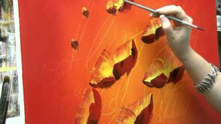 Acrylmalen: Malen lernen, Anleitung zur Mohnblume/ Acrylic painting Tutorial Demo, floral painting