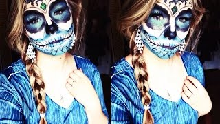 getlinkyoutube.com-Elsa Inspired Sugar Skull, Halloween Makeup Tutorial