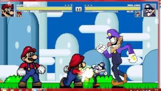 getlinkyoutube.com-Mugen Two Super Marios vs Two Waluigis