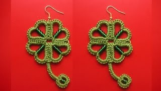 getlinkyoutube.com-26' TUTORIAL SEMPLICE ORECCHINI QUADRIFOGLIO CHIACCHIERINO AD AGO EASY EARRINGS NEEDLE TATTING