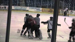 getlinkyoutube.com-Bench Clearing High-School Hockey Brawl (Plymouth vs. Canton)