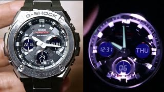 Casio G-steel GST-S110D-1A Unboxing & LIGHT Demo.