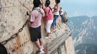 getlinkyoutube.com-World's Most Dangerous Hiking Trail on Mount Huashan