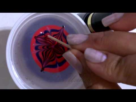 Fazendo adesivo com a técnica Marmorizada - Making adhesive with a marble technique