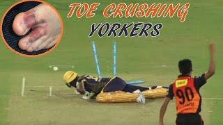 getlinkyoutube.com-Top 10 Toe Crushing Yorkers in Cricket || Batsman Fall & Injured
