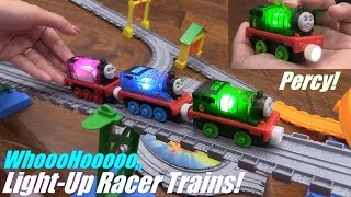 getlinkyoutube.com-Thomas the Train! Thomas & Friends' Light-Up Racer PERCY Take N Play Unboxing & Playtime