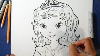 getlinkyoutube.com-Como desenhar Princesa Sofia - Disney