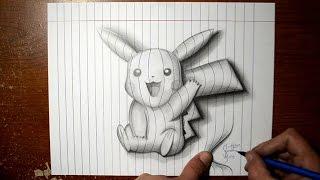 getlinkyoutube.com-How to Draw Pikachu - Line Paper 3D Trick Art