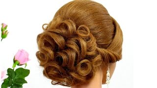 getlinkyoutube.com-Curly updo for wedding. Hairstyle for medium hair
