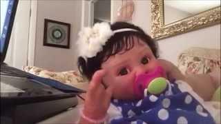 getlinkyoutube.com-Reborn baby Bella Star with  baby gibberish sound effects.