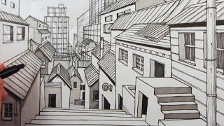 getlinkyoutube.com-How to Draw a City using One-Point Perspective: Narrated