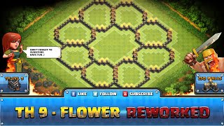 getlinkyoutube.com-★ Clash of Clans Troll Base ★ TH9 - Flower Defense, Hybrid
