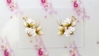 getlinkyoutube.com-Rosa Branca - Adesivo de Unha Passo a Passo