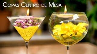 getlinkyoutube.com-Centro de Mesa Copas con Flores Sumergidas y Velas Flotantes