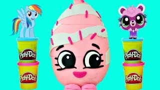 getlinkyoutube.com-MEGA Surprise Egg Shopkins Opening Barbie Hello Kitty My Little Pony LEGO with Cherbear Toys