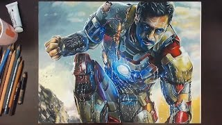 getlinkyoutube.com-Iron Man (Robert Downey Jr.) - Colored Pencil Drawing | drawholic