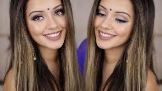 getlinkyoutube.com-Indian Get Ready With Me | Blue Winged Eyeliner Look