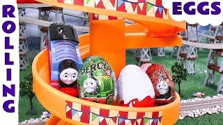 getlinkyoutube.com-Thomas and Friends Toy Trains Rolling Surprise Eggs including Kinder Eggs opening surprise toys TT4u