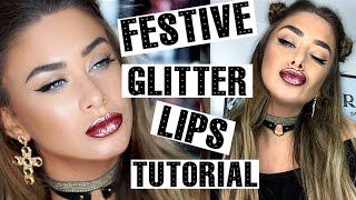 getlinkyoutube.com-Festive Party Makeup - Glitter lip tutorial