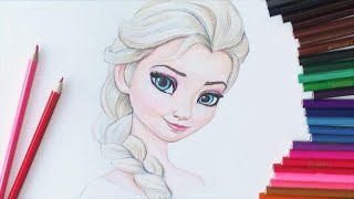 """getlinkyoutube.com-Уроки рисования. Учимся рисовать Эльзу из  """"Холодное Сердце""""How to Draw Elsa"""